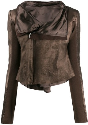 Rick Owens Leather Metallic Biker Jacket