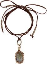 Love Heals Wraparound Leather Choker w/ Labradorite Buddha Pendant, Brown