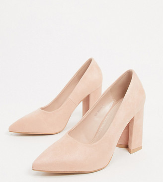 Raid Wide Fit Neha block heeled shoes in blush