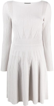 Emporio Armani Ribbed-Knit Flared Dress
