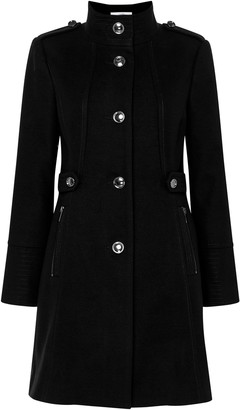 Wallis PETITE Black Funnel Neck Coat