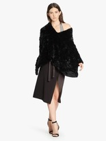 Halston Convertible Fur Poncho Sweater