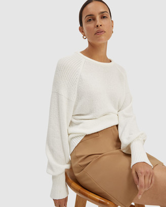 SABA Women's White Jumpers - Bonnie Raglan Sleeve Knit - Size One Size, XS at The Iconic