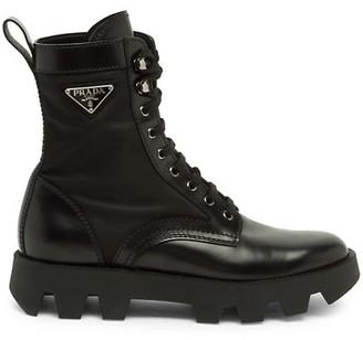 Prada Brushed Nylon Combat Boots