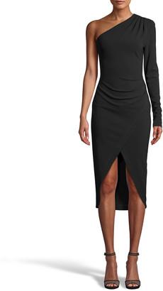 Nicole Miller One-Shoulde Jersey Sheath Dress