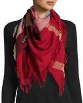 Burberry Color Check Wool Scarf, Parade Red