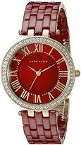 Anne Klein Women's AK/2130BYGB Gold-Tone and Burgundy Watch with Swarovski Crystals
