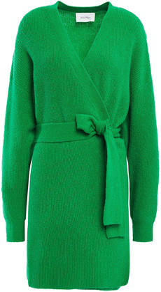 American Vintage Wopy Belted Brushed Ribbed-knit Cardigan