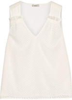 Clu Embroidered Crinkled-silk And Silk-voile Top - Ivory