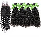 """GoldRose Beauty Grade 5A 12''12''12''12'' Brazilain Virgin Human Hair 4 Bundles Curly Wave with 1 Piece 8''Swiss Lace 4""""x4"""" Middle Part Lace Closure,Brazilian Virgin Hair Curly Wave With Closure"""