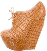 Casadei Embossed Leather Wedge Booties w/ Tags