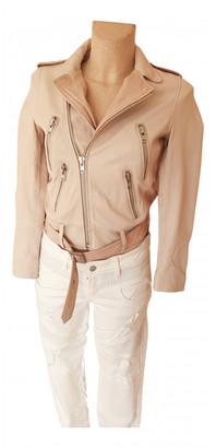 Maje Ecru Leather Jackets