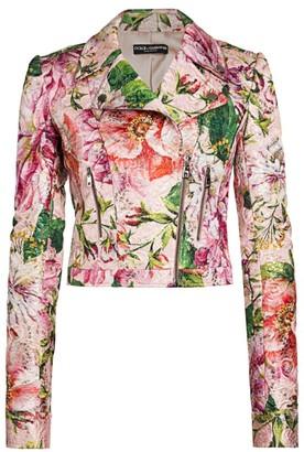 Dolce & Gabbana Brocade Floral-Print Moto Jacket