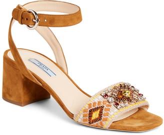 Prada Embellished Strap Block Heel Sandal