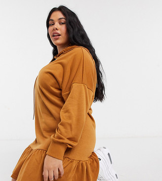 Outrageous Fortune Plus mini ruffle hem sweatshirt dress with hood in camel