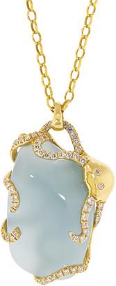 Monica Rich Kosann Milky Aqua, Diamond, Sapphire Octopus Pendant Necklace