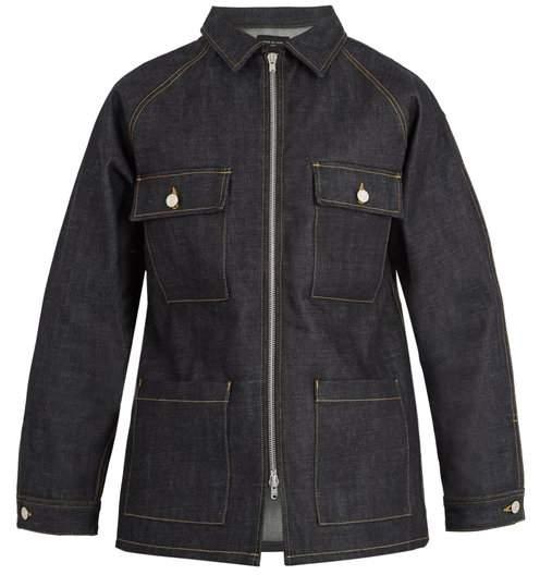 Fear Of God Oversized Zip Through Denim Jacket - Mens - Navy