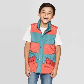 Cat & Jack Boys' Full Length Zipper Vest Orange/Blue