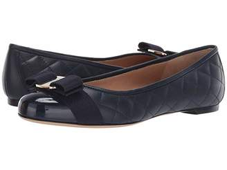 Salvatore Ferragamo Varina Quilted Flat (Navy Patent) Women's Dress Flat Shoes