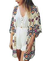 Ours Women's Floral Print Sheer Chiffon Loose Kimono Cardigan Coverups (S, )