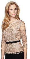 Alex Evenings 3/4 Illusion Sleeve Scallop Lace Stretch Bow Top