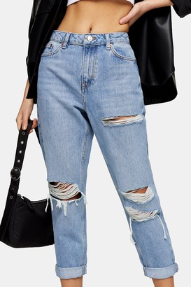Topshop Womens Petite Bleach Stone Rip Mom Tapered Jeans - Bleach Stone