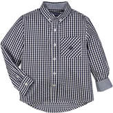 Andy & Evan Button-Down Gingham Shirt w/ Contrast Rolled Cuffs, Size 2-7