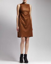 Rick Owens Ruched Leather Dress, Honey