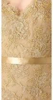 Reem Acra Metallic Lace Strapless Gown