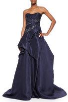 Monique Lhuillier Strapless Lace-Inset Crisscross Draped Gown