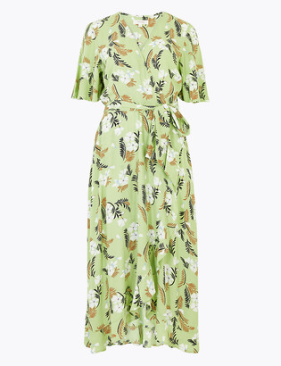 Marks and Spencer Fern Print V-Neck Midi Wrap Dress