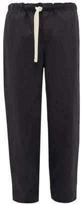 Loewe Rope Drawstring Cotton Blend Trousers - Mens - Navy