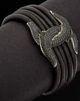 Scott Kay Guardian Silver 1.50 Ct. Tw. Spinel Leather Bracelet