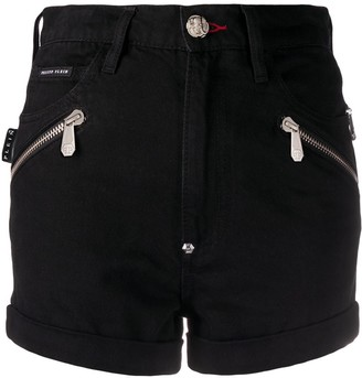 Philipp Plein Zipped Detail Denim Shorts