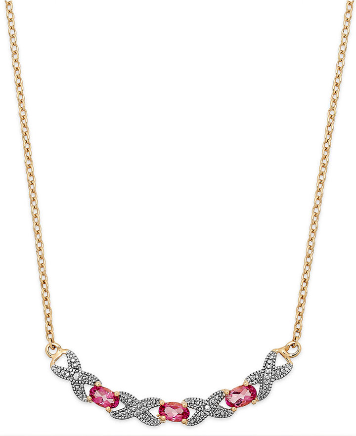 Townsend Victoria Pink Topaz (3/4 ct. t.w.) and Diamond Accent Frontal Necklace in 18k Gold over Sterling Silver
