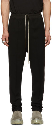 Rick Owens Black Drawstring Long Astaire Trousers