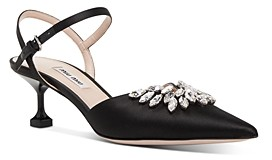 Miu Miu Women's Crystal Embellished Satin Kitten Heel Pumps