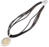 Bulgari Stainless Steel & 750 18K Yellow Gold Tondo Sun Diamond Leather Choker Necklace