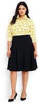 Lands' End Women's Plus Size Ponte A-line Skirt-Black