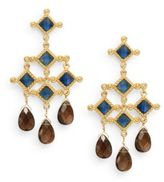 Stephanie Kantis Blue Quartz & Smoky Topaz Briolette Venetian Chandelier Earrings