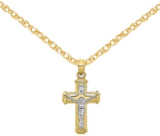 10K Yellow Gold and Rhodium-plated Polished Block Crucifix INRI Charm with 18-inch Cable Rope Chain by Versil
