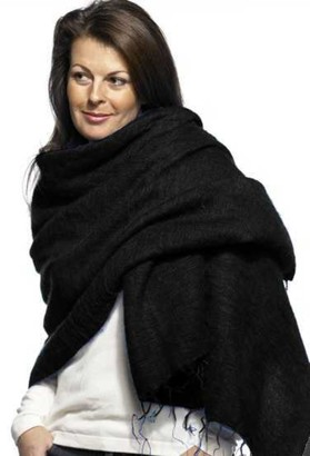 Cool Trade Winds Scarf / Wrap - Black - 100% Fair Trade Yak Cotton Shawl(Size: 190cm x 85cm)