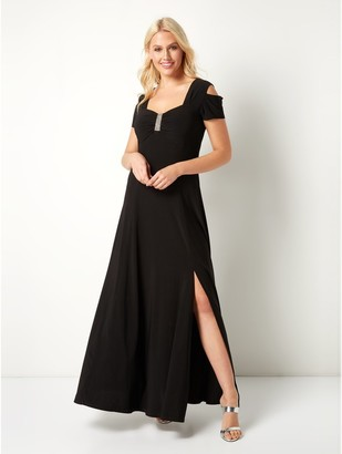 M&Co Roman Originals diamante cold shoulder maxi dress