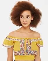 Topshop Embroidered Crinkle Bardot Top