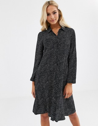 JDY mini shirt dress in black polka dot