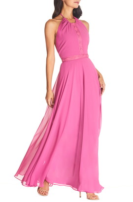 Dress the Population Odette Halter Neck Chiffon Maxi Dress