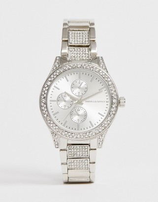 Asos Design DESIGN bracelet watch with crystals in silver tone