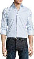 Eton Mini Dot-Print Long-Sleeve Sport Shirt, White/Turquoise/Brown