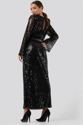 NA-KD Trumpet Sleeve Sequin Dress