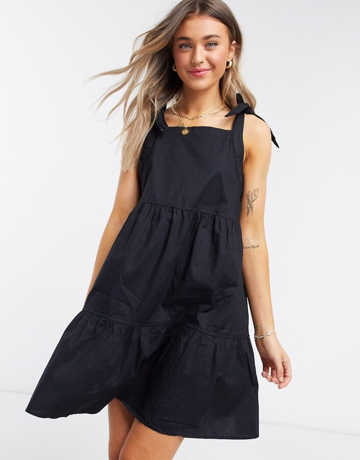 Thumbnail for your product : Monki Thelma organic cotton tie shoulder mini smock dress in black